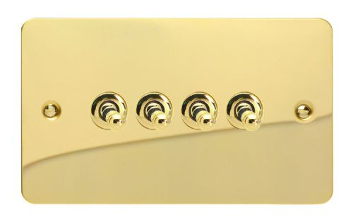Varilight XFVT9 Ultraflat Polished Brass 4 Gang 10A 1 or 2 Way Toggle Light Switch